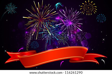 illustration of colorful firework banner on abstract background - stock vector