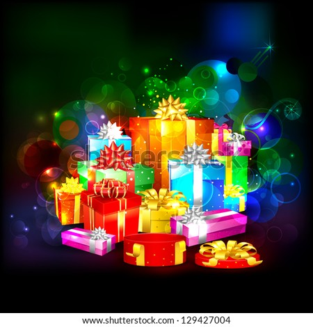 illustration of colorful gift box on abstract background - stock vector