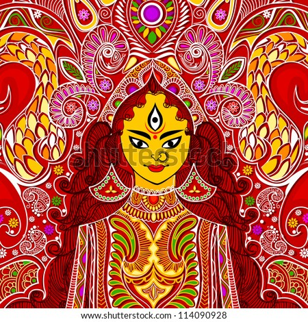 illustration of colorful Goddess Durga against abstract background - stock vector