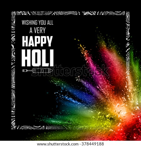 illustration of colorful gulal (powder color) explosion for Happy Holi Background - stock vector