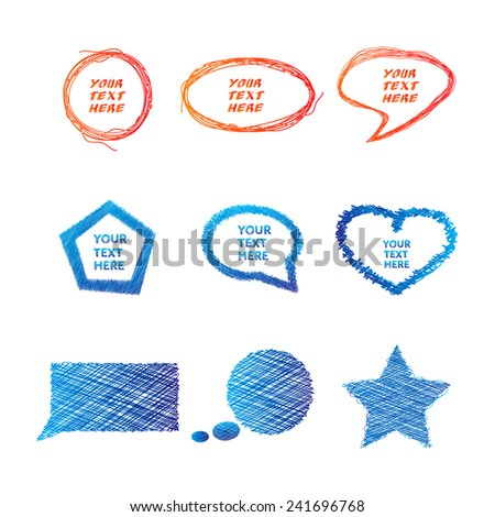 Illustration of colorful hand drawn speech and thought bubbles. - stock vector