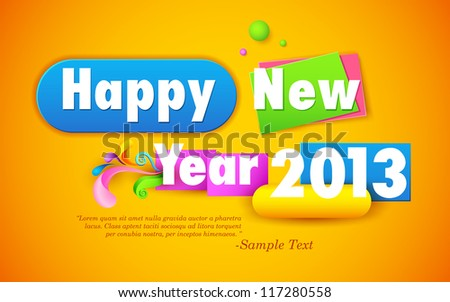 illustration of colorful Happy New Year wallpaper - stock vector