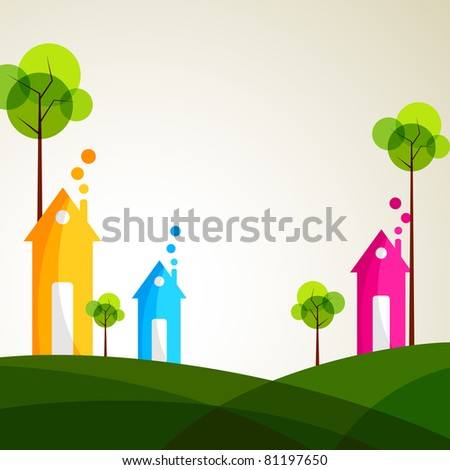 illustration of colorful house with tree on grassland - stock vector