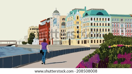 Illustration of colorful houses on the bank of the river. Moscow. Russia.