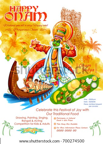 illustration of colorful Kathakali dancer on background for Happy Onam festival of South India Kerala