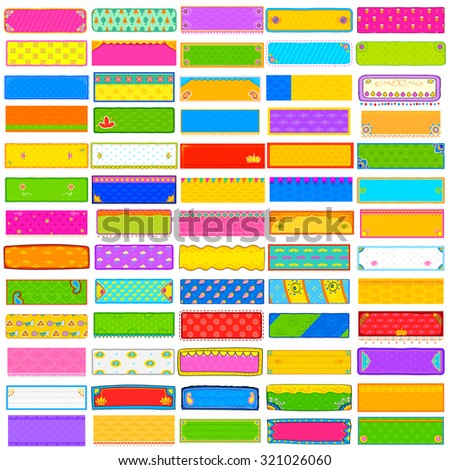 illustration of colorful kitsch style banner jumbo collection for header and promotional activity - stock vector