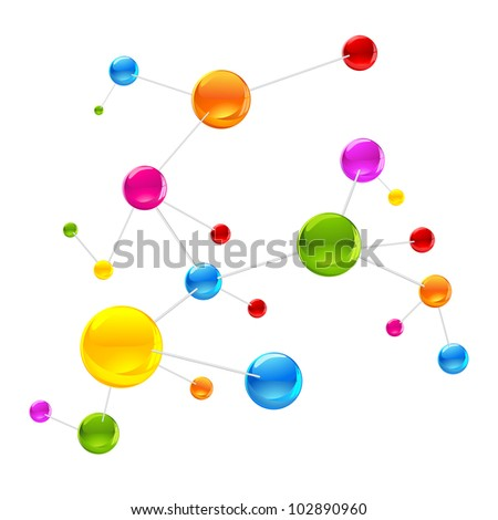 illustration of colorful molecule structure on white background - stock vector