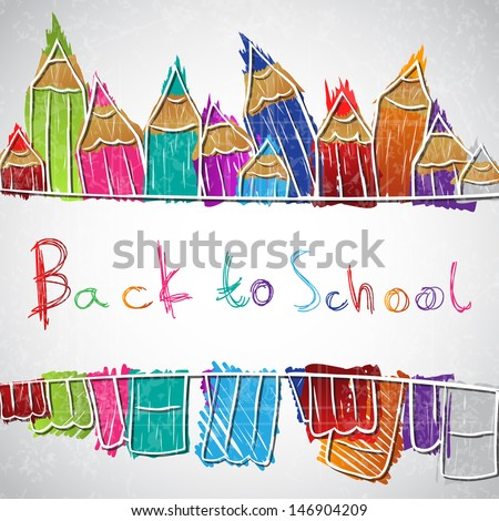 Illustration of colorful pencil set forming background