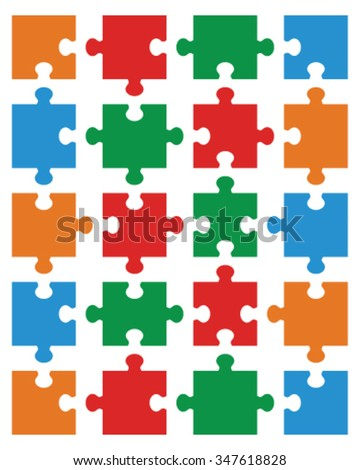 Illustration of colorful puzzle, separate pieces - stock vector
