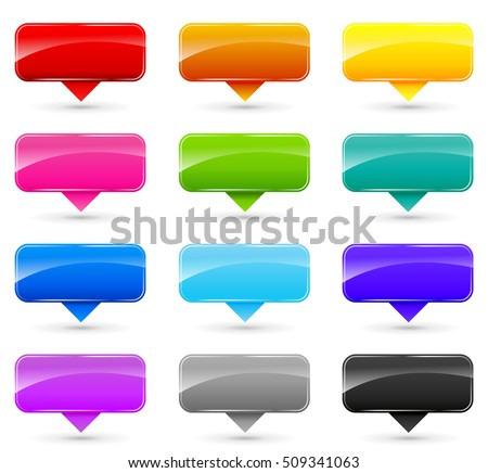 Illustration of colorful set labels on white background