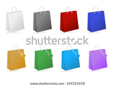 Illustration of colorful shopping bag collection isolated - stock vector