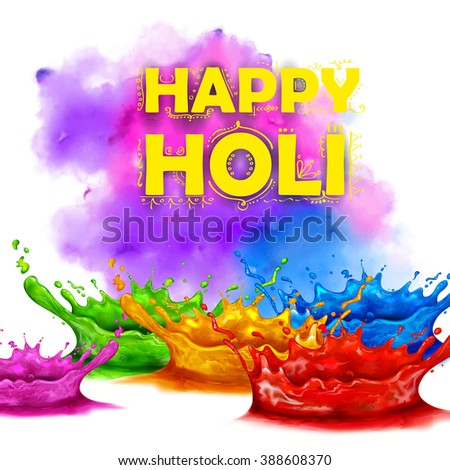 illustration of colorful splash in Happy Holi background - stock vector