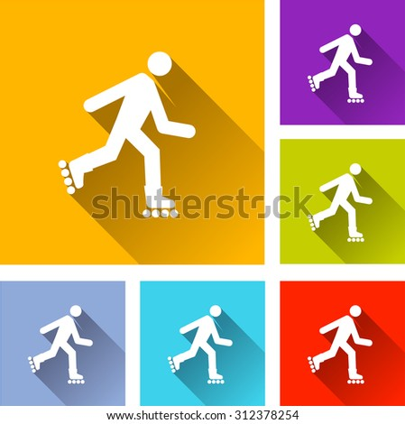 illustration of colorful square rollerskate icons set - stock vector