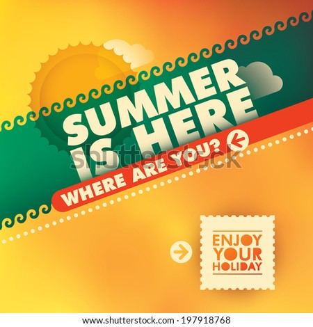 Illustration of colorful summer background. Vector illustration. - stock vector