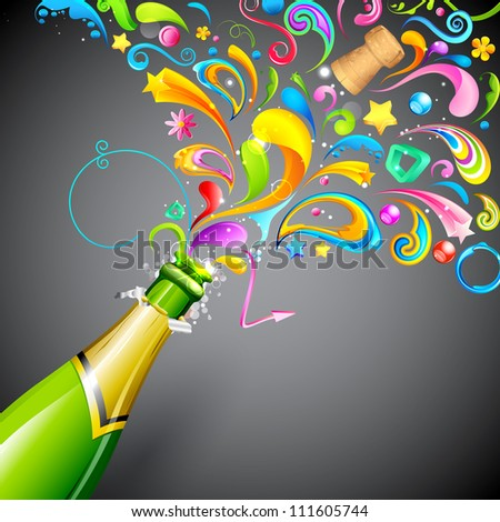 illustration of colorful swirls coming out of champagne bottle - stock vector