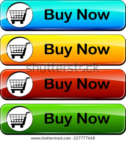 illustration of colorful web buttons for buy now - stock vector