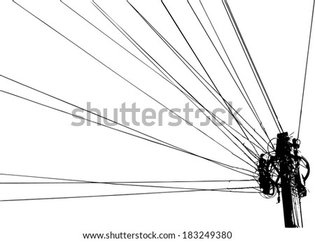 illustration of column with wires - stock vector