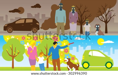 Illustration of comparison between old car and new eco car - stock vector
