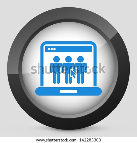 Illustration of computer connected to a social internet page - stock ...