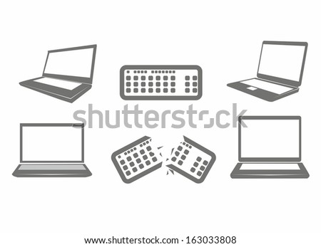 Illustration of computer icons, iconography computer and keyboard, vector illustration - stock vector