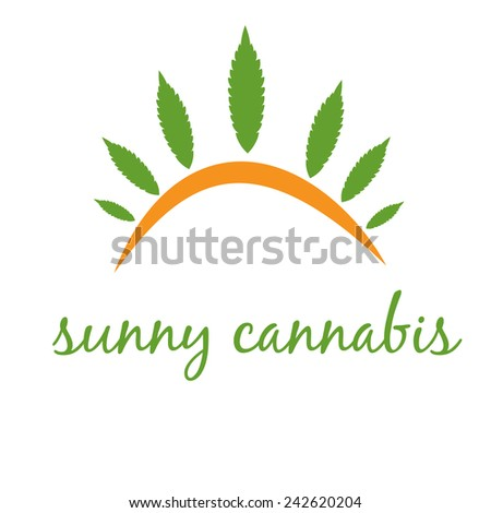 Illustration of concept icon cannabis with sun. Vector - stock vector