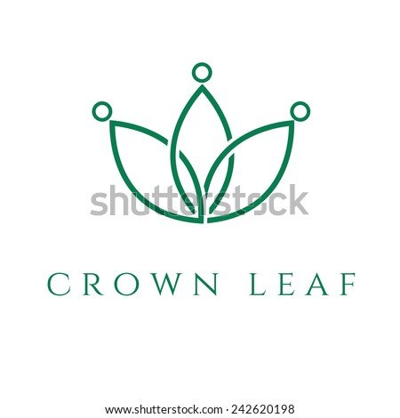 Illustration of concept icon crown in the leaf. Vector - stock vector