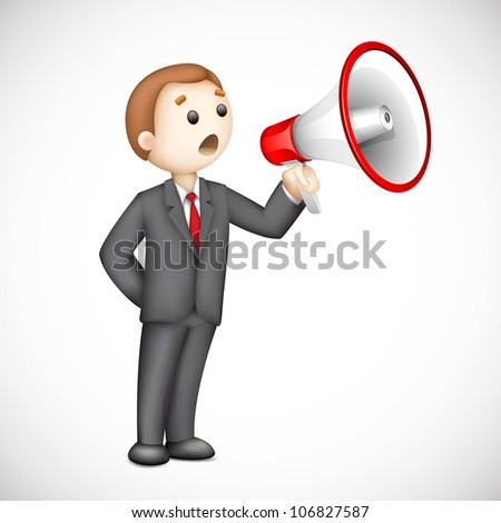 illustration of confident 3d business man in vector announcing with megaphone