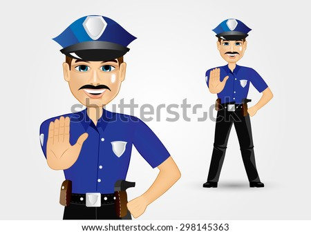 illustration of confident policeman with mustache showing stop gesture