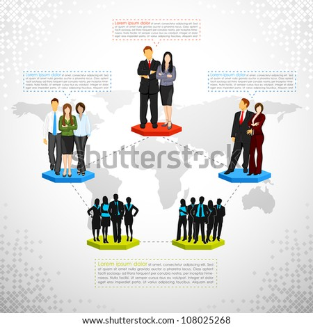 illustration of connected people showing business networking - stock vector