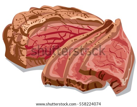 illustration of cooked sliced bacon meat
