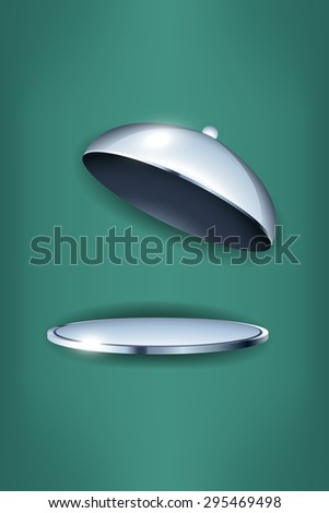 illustration of cooks dish  opened on blue background - stock vector