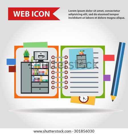 Illustration of copy-book for learning and writing, paper document with pencil web icon, vector. And with drawn  office furniture set, interior. Case, box with folders, television and plant. - stock vector