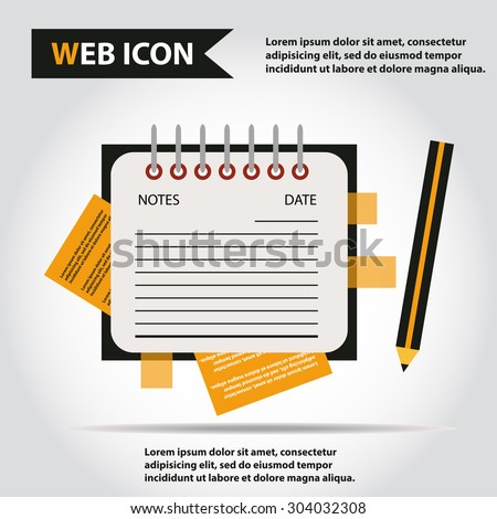 Illustration of copy-book for learning and writing, paper document with pencil web icon, vector.