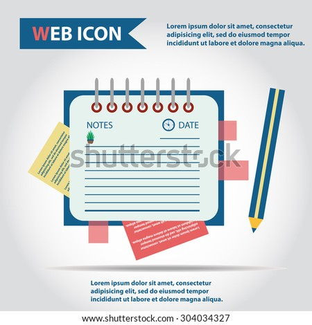 Illustration of copy-book for learning and writing, paper document with pencil web icon, vector. Personal organizer.