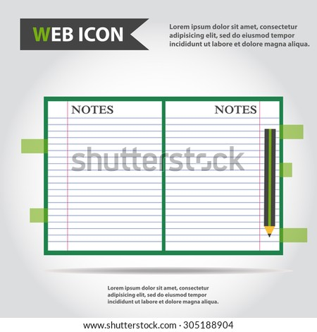 Illustration of copybook for learning and writing, paper document with pencil web icon, vector. - stock vector
