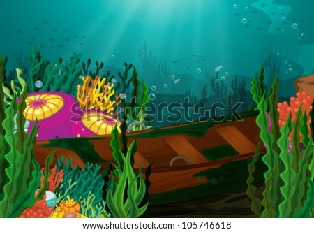 illustration of coral and rowboat in deep sea - stock vector