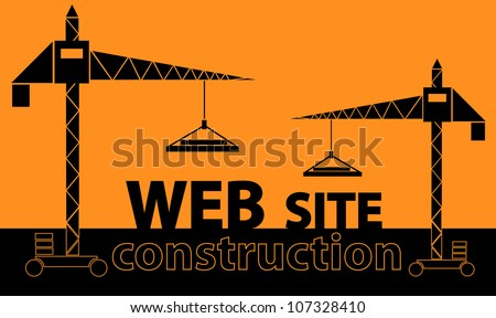 illustration of couple cranes building text 'web site' over orange background - stock vector