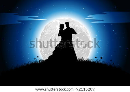 illustration of couple in romantic mood in night view with moon backdrop - stock vector
