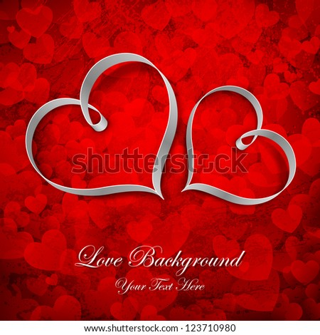 illustration of couple of heart on love background - stock vector