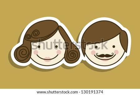 Illustration of couple of husbands or boyfriends, wedding icons, vector illustration - stock vector