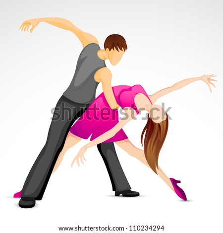 illustration of couple performing samba dance - stock vector