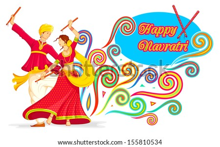 illustration of couple playing dandiya on Navratri - stock vector