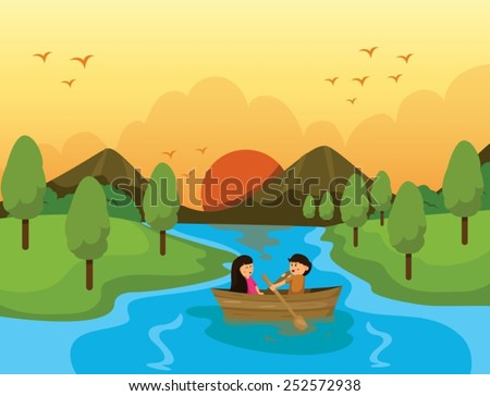 illustration of couple sailing  with sunset background - stock vector