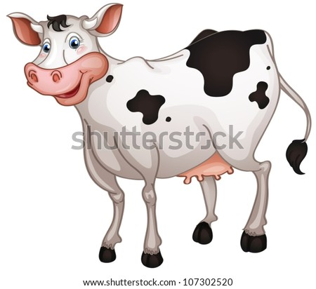 illustration of cow in a white background - stock vector