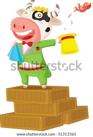 illustration of cow, standing on boxes