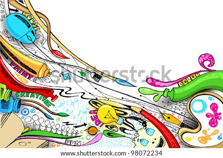 illustration of craft doodle with painting brush and color - stock vector