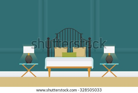 Illustration of creative classic bedroom with wrought-iron double bed,  bedstead, lamp. Lounge concept interior with modern furniture . Flat design, minimalist style. Vector - 10 EPS, design elements