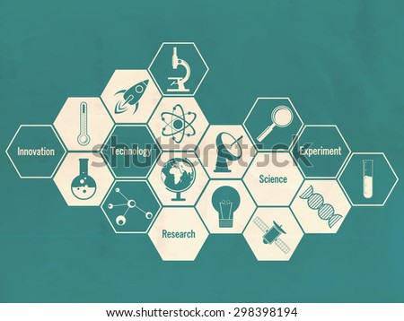 Illustration of creative signs and symbols of science on green background. - stock vector
