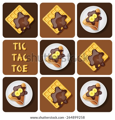 Illustration of crepe and waffle in tic-tac-toe game - stock vector