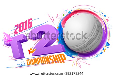 illustration of cricket ball for T20 Cricket Championship  - stock vector